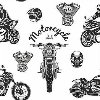 Qality naadloze motorfiets ingesteld patroon vectorillustratie