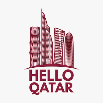 Qatar city tower logo ontwerp inspiratie