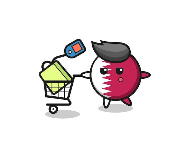 Qatar vlag badge illustratie cartoon met een winkelwagentje, schattig stijlontwerp voor t-shirt, sticker, logo-element