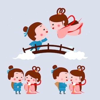 Qi xi dag festival illustratie