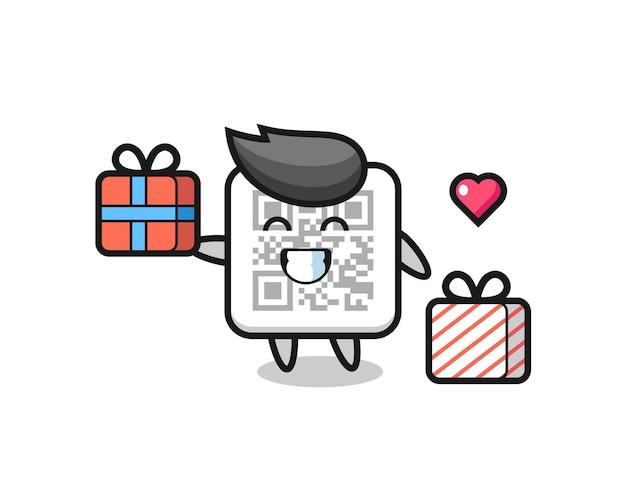 Qr-code mascotte cartoon die het geschenk geeft, schattig ontwerp