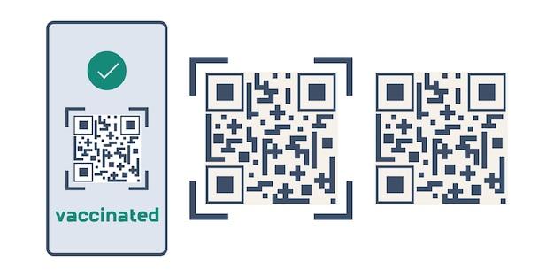 Qr-code over vaccinatie tegen covid de elektronische code staat in de telefoon