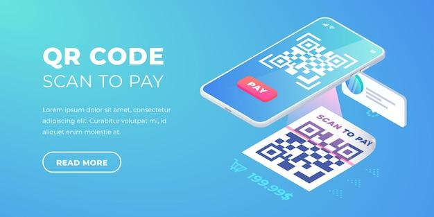 Qr code scan om banner te betalen. 3d-qr betaalt isometrische vector. contactloos contant betalen elektronisch betalen