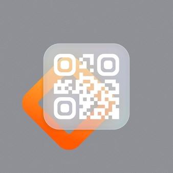 Qr-code scanbadge. technologie voor directe betaling of tech betaalmethode zonder geld. glasmorfisme stijl. vector illustratie. realistisch glasmorfisme-effect met set transparante glasplaten.