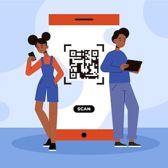 Qr code scannen concept illustratie met tekens