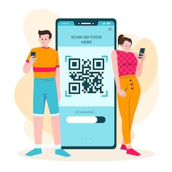 Qr-code scannen concept met karakters