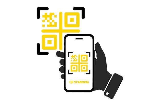 Qr-code scannen met mobiele smartphone qr-code voor betaling e portemonnee cashless technologieconcept