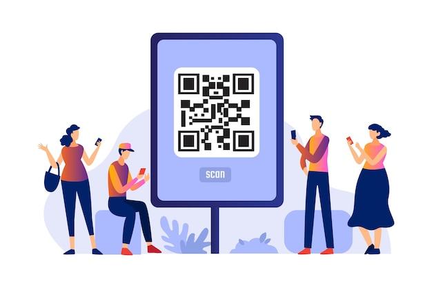 Qr-code scannen met tekensconcept