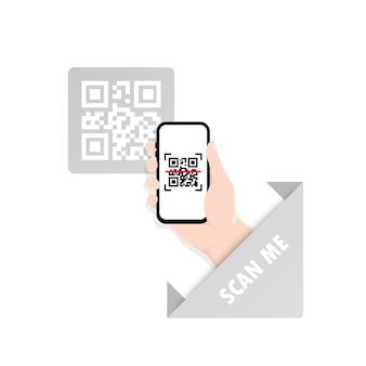 Qr-code scannen of mobiele telefoon vastleggen. scan mij. lees streepjescode, mobiliteit, app genereren, coderen.