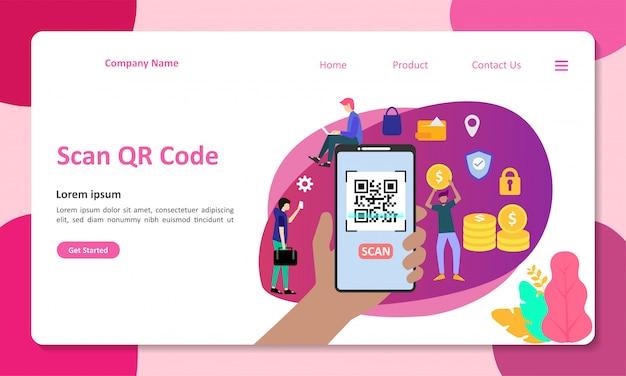 Qr-code scannen vectorillustratie geschikt voor web landingspagina