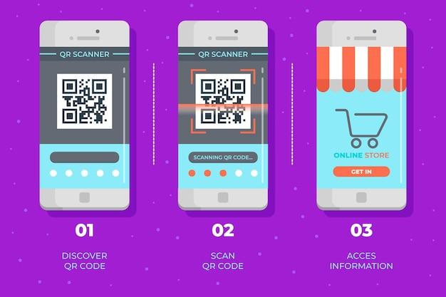 Qr-code scanstappen bij het verzamelen van smartphones