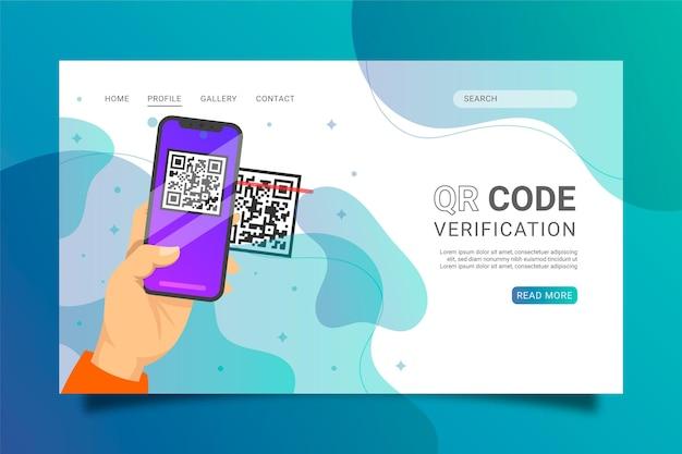 Qr-code verificatie bestemmingspagina sjabloon
