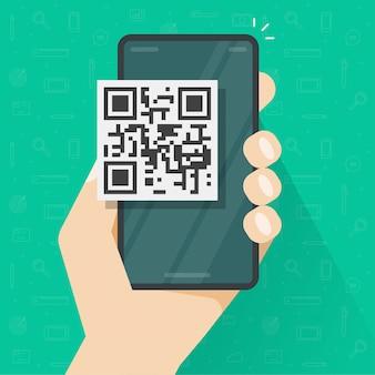 Qr-codepictogram op het mobiele telefoon of smartphonescherm persoonlijk illustratie van het hand de vlakke beeldverhaal