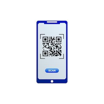 Qr-codepictogram op het smartphonescherm. vector illustratie. Premium Vector