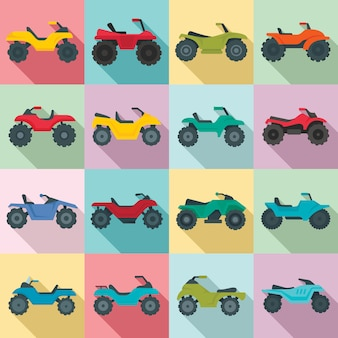 Quad fiets iconen set, vlakke stijl