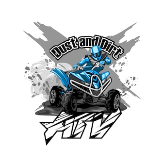 Quad off-road atv-logo, stof en vuil