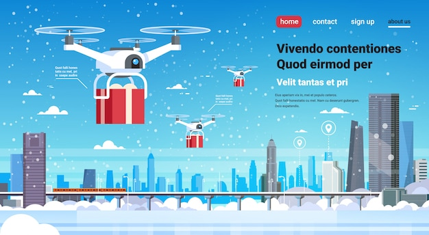 Quadcopter drone geschenkdoos huidige bezorgservice gelukkig nieuwjaar voor kerstmis
