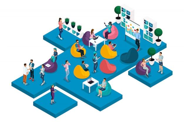 Quality isometrics, het concept van coworking center, training, werk, freelancen voor ers, programmeurs, copywriters. een set composities voor reclame