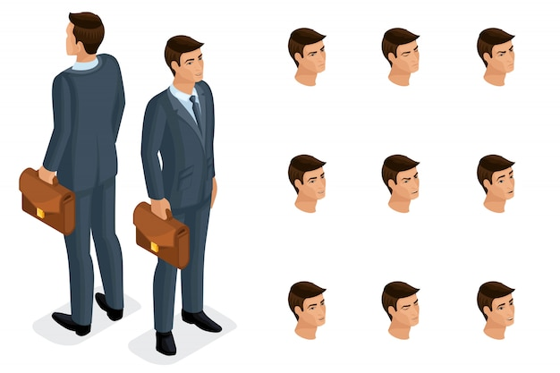 Quality isometry, is een solide zakenman met een koffer, in een stijlvol en mooi pak. karakter met een reeks emoties om kwaliteit te creëren