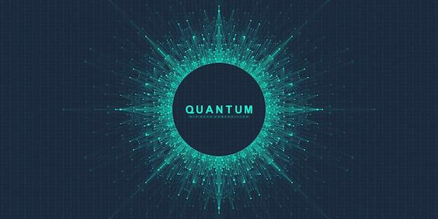 Quantum computer technologie concept. bol explosie achtergrond. deep learning kunstmatige intelligentie. visualisatie van big data-algoritmen. golven stromen. kwantumexplosie, vectorillustratie.