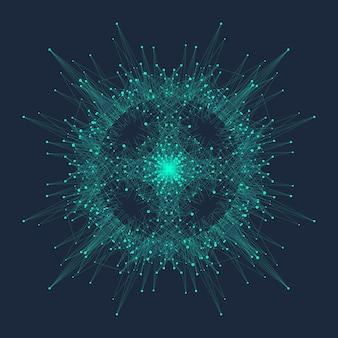 Quantum computer technologie concept. deep learning kunstmatige intelligentie. visualisatie van big data-algoritmen voor bedrijven, wetenschap, technologie. golven stromen, stippen, lijnen. kwantum vectorillustratie.
