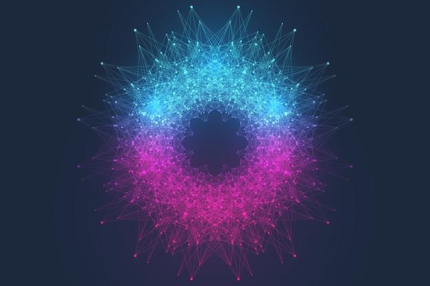 Quantum computertechnologie concept. bol explosie achtergrond. deep learning kunstmatige intelligentie. visualisatie van big data-algoritmen. golven stromen. quantum explosie, illustratie