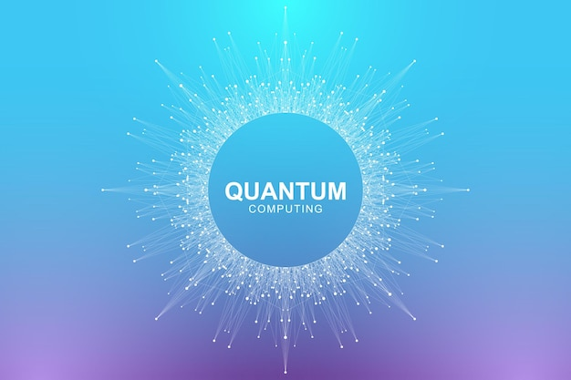 Quantum computertechnologie concept. golven stromen, stippen, lijnen illustratie.