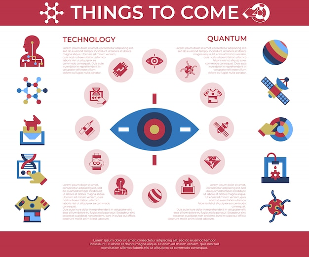 Quantum things to come technologie iconen set