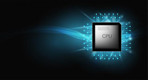 Quantumcomputer, grote gegevensverwerking, databaseconcept.cpu isometrisch. centrale computerprocessors cpu-concept. digitale chip futuristische microchip processor met lampjes op de blauwe achtergrond.