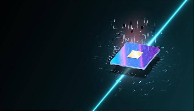 Quantumcomputer, grote gegevensverwerking, databaseconcept. isometrische banner van cpu. centrale computerprocessors