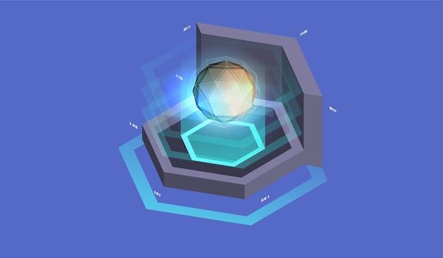 Quantumcomputer, grote gegevensverwerking. isometrische quantum computing of supercomputing. software ontwikkeling en programmeren.