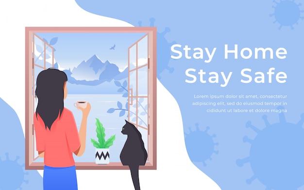 Quarantaine en zelfisolatie concept. meisje en kat kijkt uit het raam. thuis blijven met zelfquarantaine. bescherm tegen virussen
