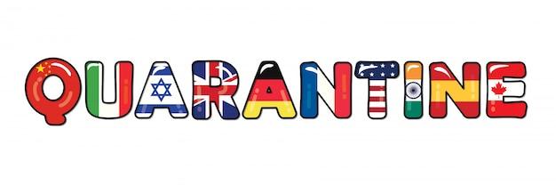 Quarantaine vanwege covid-19. vlaggen van landen