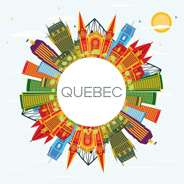 Quebec canada city skyline met kleur gebouwen, blauwe lucht en kopie ruimte. vectorillustratie. zakelijk reizen en toerisme concept met historische architectuur. quebec stadsgezicht met monumenten.