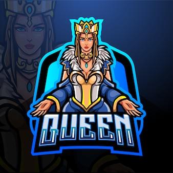 Queen esport logo mascotte ontwerp