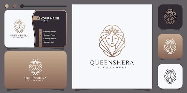 Queen-logo-ontwerp voor vrouw met lijnstijl premium vector