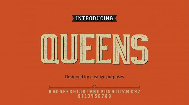 Queens lettertype. voor labels en verschillende letterontwerpen