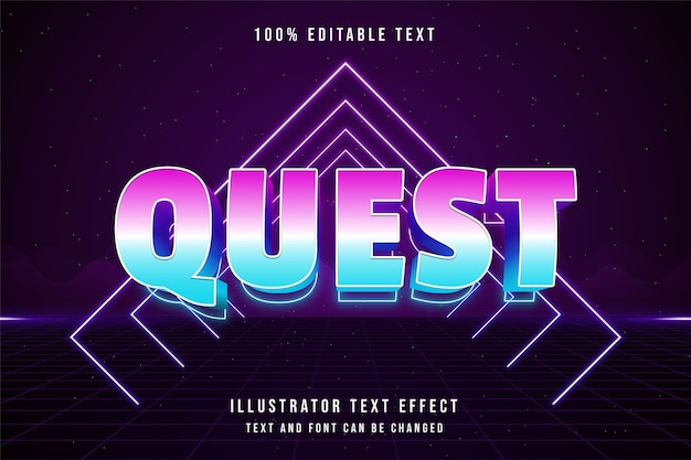 Quest, 3d bewerkbaar teksteffect blauwe gradatie roze neon tekststijl