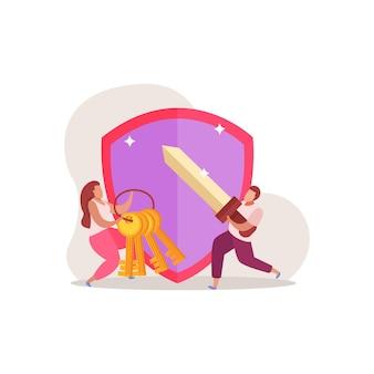 Quest game platte compositie met doodle menselijke karakters illustratie