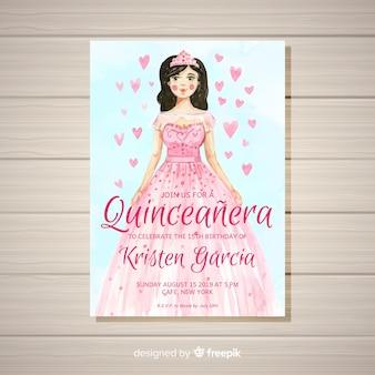 Quinceañera feestuitnodiging met een meisje