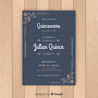 Quinceanera floral ornamenten uitnodiging sjabloon