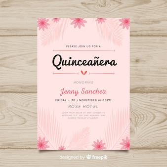 Quinceanera floral uitnodiging sjabloon