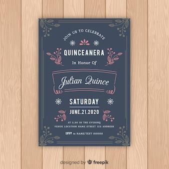 Quinceanera laat ornamenten uitnodigingssjabloon