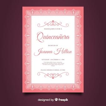 Quinceanera platte kanten feestkaart