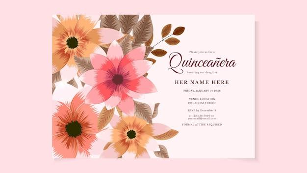 Quinceanera verjaardag viering flyer uitnodigingskaart voor latijns-amerika meisje in bloemdessin