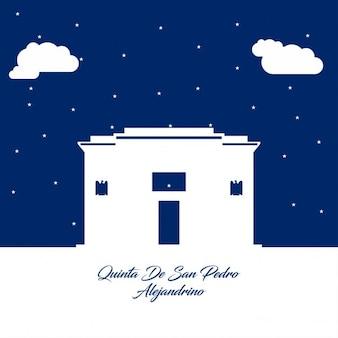 Quinta de san pedro alejandrino abstract silhouet op blauw papier achtergrond