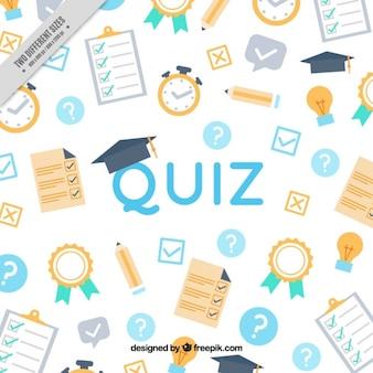 Quiz achtergrond met platte voorwerpen