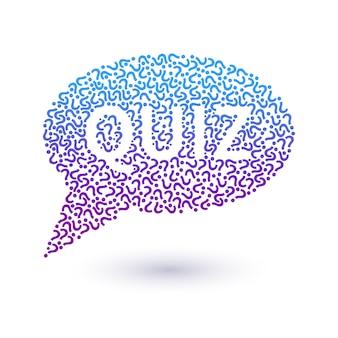 Quiz concept, vraagtekens in de vorm van een tekstballon