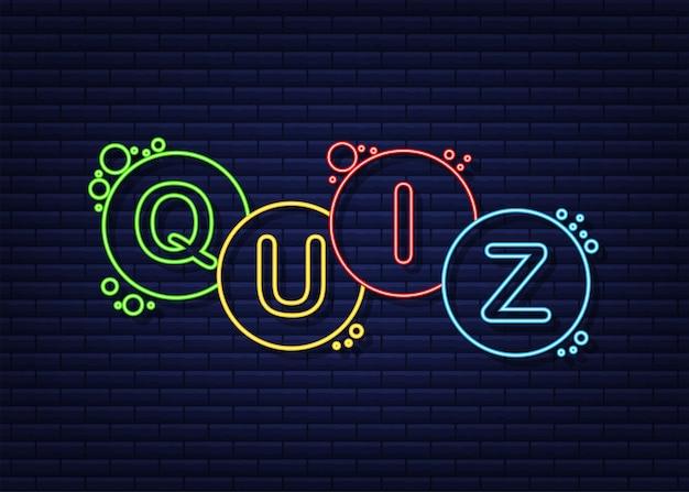 Quiz logo met tekstballon symbolen concept van vragenlijst show zing quiz knop