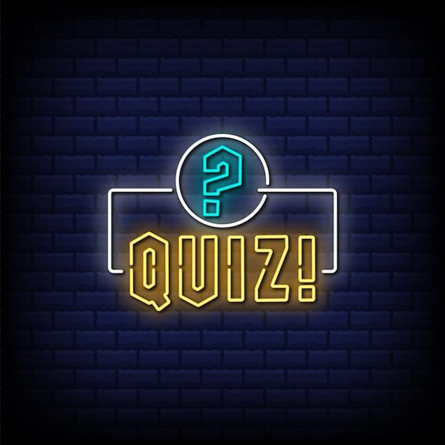 Quiz neon bord met uitroepteken en vraagteken